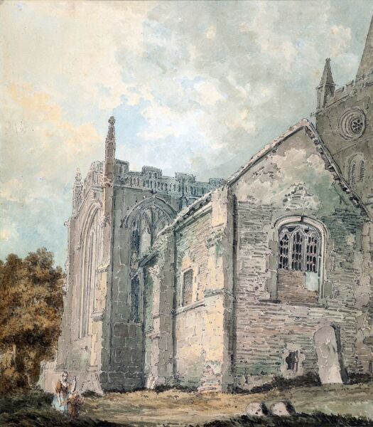 SBT 1939-25. A late eighteenth-century watercolour of the 'The Ancient Charnel House' at Holy Trinity Church, Stratford-upon-Avon, by Thomas Girtin (1775-1802). Dimensions (H, W): Frame, 560mm x 460mm. Watercolour, 276mm x 242mm
