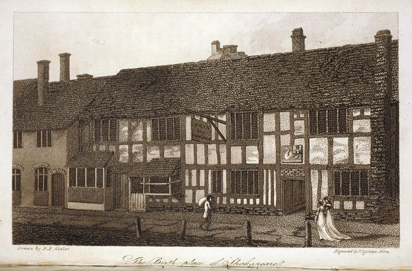 History and Antiquities of Stratford-upon-Avon by R.B. Wheler. Printed and Sold by J Ward, Stratford-upon-Avon, 1806. The Birthplace of Shakespeare, opposite p.129. Ilustrations drawn by R.B.Wheler and engraved by F Eginton of Birmingham. Plates 8