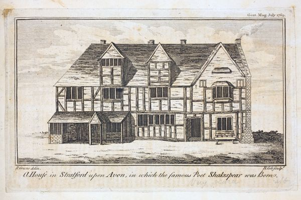 ER1/49. Hunt Papers 1640 -1860. Shakespeare Portraits and Miscellanies' collected by W.O. Hunt. Folio 84 recto iii. An engraving of Shakespeare's Birthplace; R Greene delin, B Cole sculpt. Published in The Gentleman's Magazine, July 1769. Dimensions (H