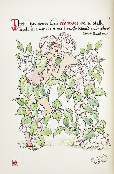 Flowers from Shakespeare's Garden: a Posy from the Plays, pictured by Walter Crane. Published by Cassell & Co. Ltd, 1909. ?Dedicated to The Countess of Warwick whose delightful Old English Garden at Easton Lodge suggested this book of Fancies