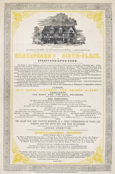 DR/1014/2. Shakespeare's Birthplace, Stratford-upon-Avon: Fundraising poster issued by the Stratford-upon-Avon and London Committees formed for the purpose of raising funds for the purchase of Shakespeare's Birthplace, 2nd August 1847. Dim (H