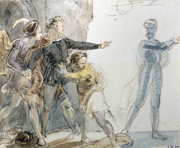 SBT 2015-11. Sketches by John Masey Wright O.W.S., C19th   SBT 2015-11/1. Hamlet. Pencil and Wash drawing by John Masey Wright (1777-1866), O.W.S. From an album of J.M. Wright drawings. Hamlet, Act 1 Scene 4, ?It will not speake: then I will follow it?