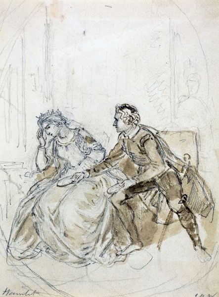 SBT 2015-10. Sketches by John Masey Wright, C19th   SBT 2015-10/1. 'Hamlet', Pencil and Wash drawing by John Massey Wright (1777-1866). From an album of J.M. Wright drawings. Hamlet, Act 3 Scene 4, line 53, ?Look here upon this picture?. Mounted and unglazed