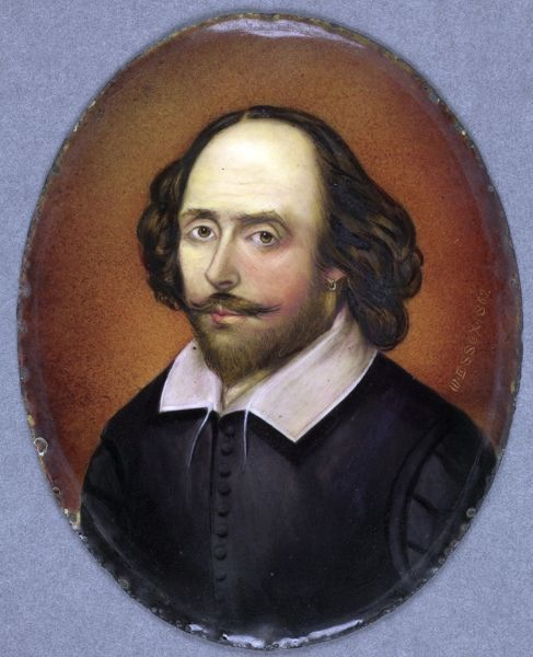 SBT 2015-4/3. Oval miniature portrait of William Shakespeare, enamel on copper, by William Essex (1784-1869) signed W. ESSEX. 1862     H:100mm W: 80mm   Original Oval Frame: (H)190mm x (W)160mm