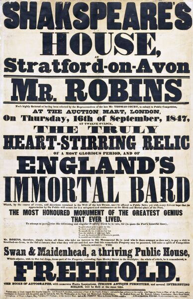 DR1014/3. Large poster advertising the sale, by Mr [George] Robins, of Shakespeare's Birthplace and the Swan and Maidenhead public house adjoining, Thursday, 16th September 1847. This was probably the item listed as no. 2 in the Catalogue of the Books