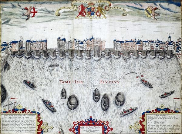 Norden View of London Bridge, 1597