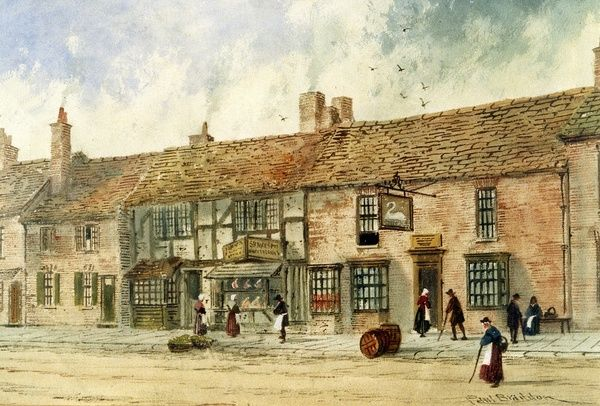 SBT 1994-19/95: Paul Braddon, Shakespeare's Birthplace showing the Swan and Maidenhead Inn, watercolor on paper, c. 1890, The Shakespeare Birthplace Trust