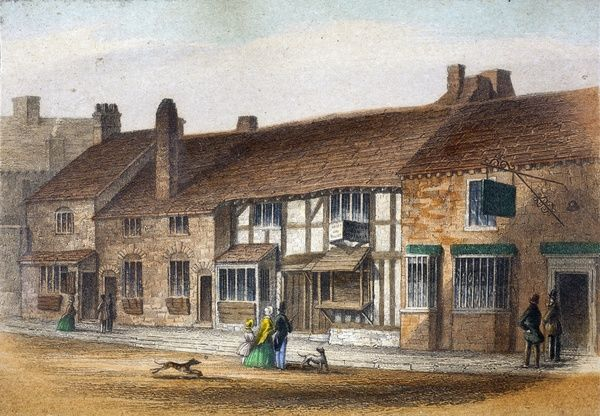 SBT 1994-19/326. A coloured print of Shakespeare's Birthplace, published by F & E Ward, c.1847. Dimensions (H, W): Frame: 180 x 155mm. Print: 65 x 95mm