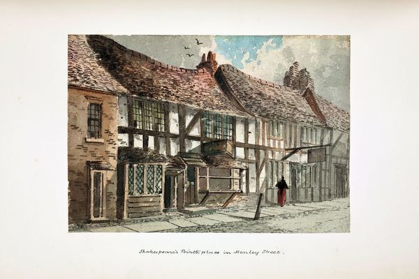 Shakespeare's Birthplace before restoration. Watercolour by Paul Braddon, circa 1890