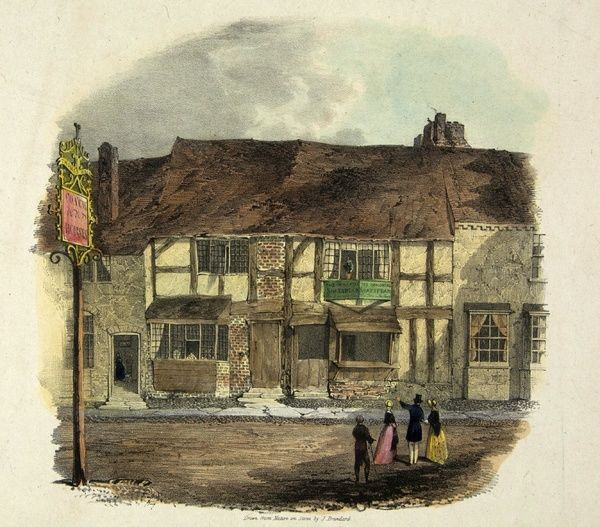 Prints and drawings, Henley Street Shakespeare's Birthplace before restoration 1840 ->