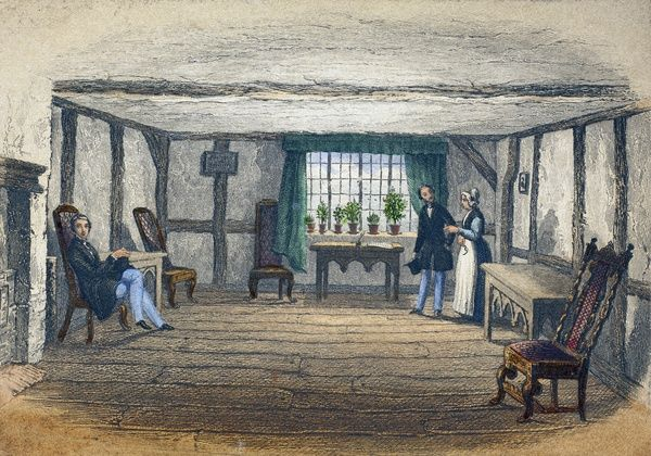 SBT 1994-19/327. A coloured print of the room traditionally known as 'the Birthroom', published by F & E Ward, c.1847. Dimensions (H, W): Frame: 180 x 155mm. Print: 65 x 95mm