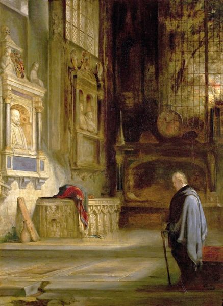 SBT 1969-11: Sir William Allan, Benjamin Haydon, and David Roberts [variously attributed], 'Sir Walter Scott at Shakespeare's tomb', oil on canvas, 180x90 cm, c.1830, The Shakespeare Birthplace Trust