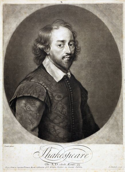 "SBT 2015-12. Shakespeare, after Soest, engraved by I [John] Simon. Circa 1725. ""Done from a Capital Picture in the Collection of T. Wright Painter in Covent Garden"". Dimensions (H, W): 377mm x 280mm"
