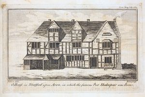 Engraving of Shakespeare's Birthplace, R Greene, 1769