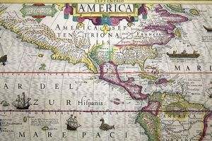 Map of the Americas from Gerard Mercator and Jodocus Hondius Atlas, 1619