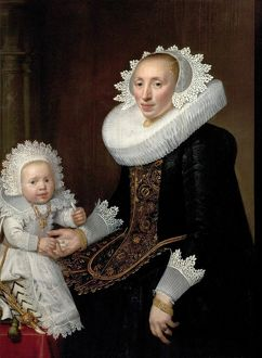 Portrait of an Unknown Woman and her Infant Son by Nicolaes Eliasz Pikenoy