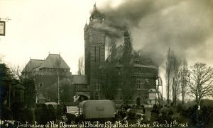 stratford upon avon/old photographs stratford upon avon/sbt sc15 6 shakespeare memorial theatre fire 1926